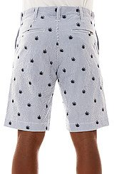 Plant Life Embroidred Seersucker Shorts in Navy Blue