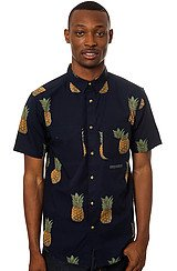 Tropics Buttondown in Navy Pineapple
