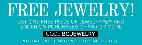 Free Jewelry (up to $5.90) with any $40 in-store or online purchase