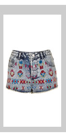 MOTO Aztec Embroidery Hotpants