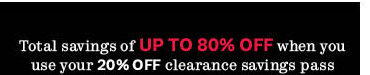 20% off clearance savings pass