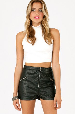 QUILTED ZIP HIGH WAIST SHORTS 37