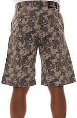 The Splatter Camo Twill Shorts in Grey