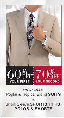 60% OFF* Your 1st, 70% OFF* Your 2nd** - Poplin & Tropical Blend Suits + Short-Sleeve Sportshirts, Polos & Shorts
