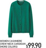 WOMEN CASHMERE CREW NECK CARDIGAN