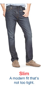 Slim A modern fit that's not too tight.