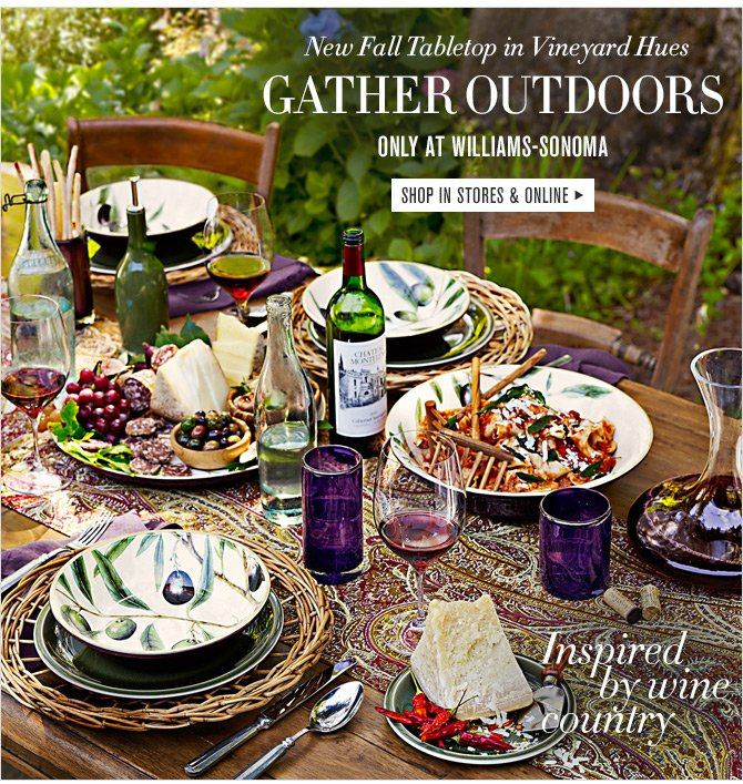 New Fall Tabletop in Vineyard Hues - GATHER OUTDOORS - ONLY AT WILLIAMS-SONOMA - SHOP IN STORES & ONLINE