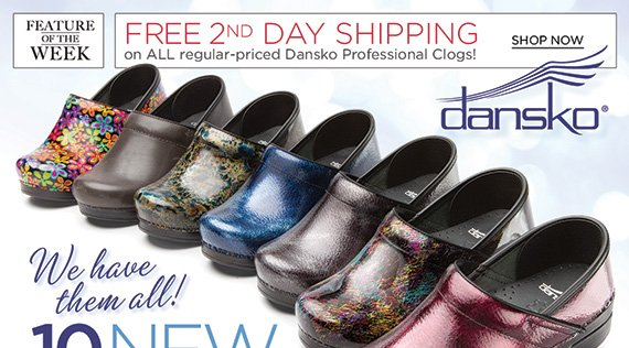 NEW Feature of the Week: Enjoy FREE 2nd Day Shipping on Dansko Professional Clogs! Shop 40 great styles, including 10 NEW colors with all the Dansko comfort you love! Your #1 source for Dansko, shop now to find the best selection online and in stores at The Walking Company.