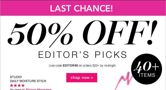 take 50% off on Editors Picks. Code: EDITOR50 - shop now