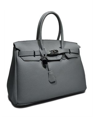 Giulia Genuine Leather Solid Color Padlock Satchel Made In Italy