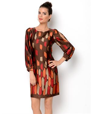 Cece's Printed Long Sleeve Dress