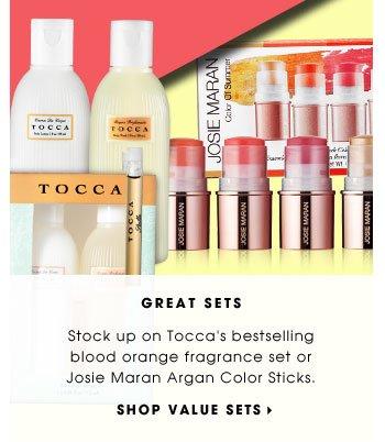 GREAT SETS. Stock up on Tocca's bestselling blood orange fragrance set or Josie Maran Argan Color Sticks. SHOP VALUE SETS