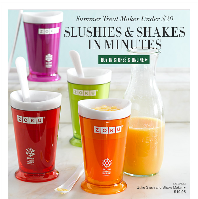 Summer Treat Maker Under $20 SLUSHIES & SHAKES IN MINUTES - BUY IN STORES & ONLINE - EXCLUSIVE - Zoku Slush and Shake Maker - $19.95