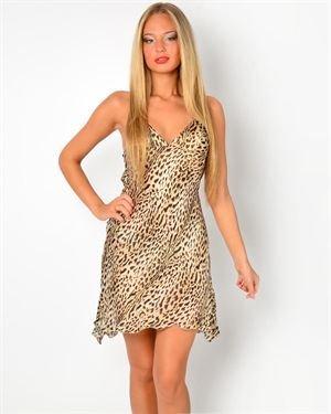 Roberto Cavalli Leopard Print 100% Silk Nightwear Chemise Made In Italy