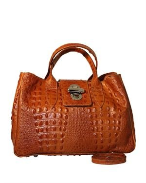 Giulia Crocodile Embossed Genuine Leather Large Satchel Made In Italy