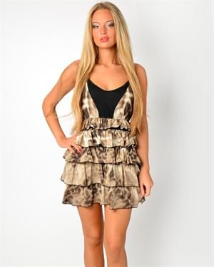 Just Cavalli Tiered Animal Print  Women Dress Made In Europe