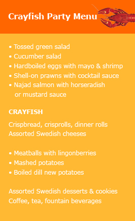 Crayfish Party Menu