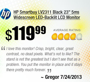 I love this monitor! Crisp, bright, clear, great contrast, no dead pixels. What's not to like? The stand is not the greatest but I don't see that as a problem. You put the monitor in place and it stays there pretty much forever. ~ Gregor 7/24/2013