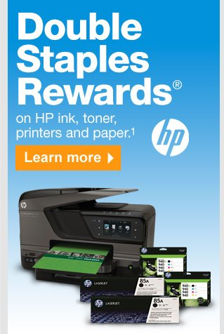 Double  Staples Rewards on HP ink, toner, printers and paper (1). Learn  more