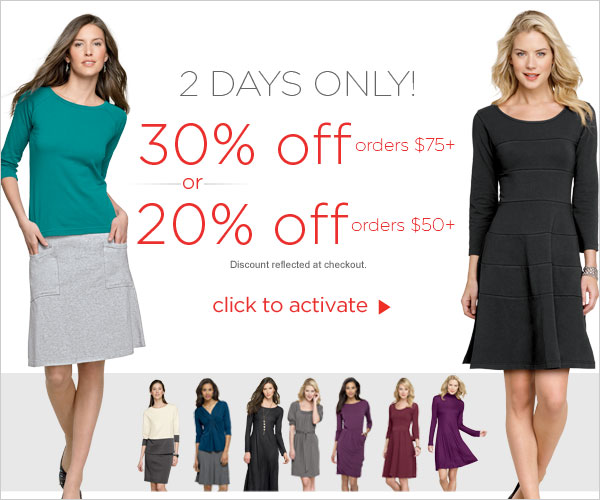 Extra 30% off orders $75+ or 20% off orders $50+