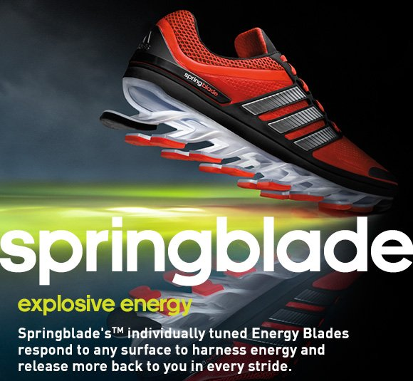 springblade. explosive envergy. Springblade's (TM) individually tuned Energy Blades respond to any surface to harness energy and release more back to you in every stride.