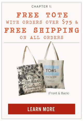 Free tote with orders over $75 + free shipping on all orders