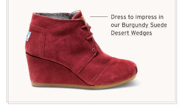 Burgundy Suede Desert Wedges