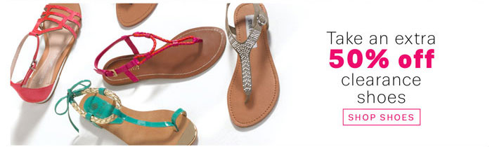 Take an extra 50% off clearance shoes. Shop Shoes.