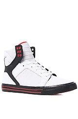 Skytop Sneaker in White Raptor TUF, Black, & Red Accents