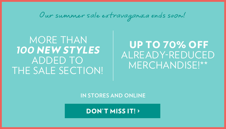 Up to 70% off already-reduced merchandise!**