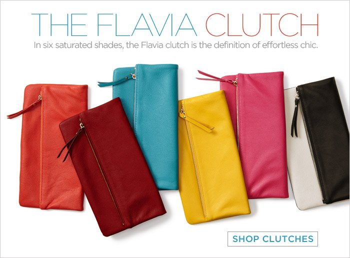 THE FLAVIA CLUTCH | In six saturated shades, the Flavia clutch is the definition of effortless chic. SHOP CLUTCHES