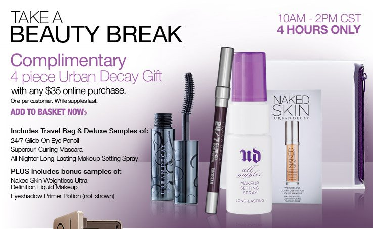 Complimentary 4pc Urban Decay Gift with ANY $35 online purchase.