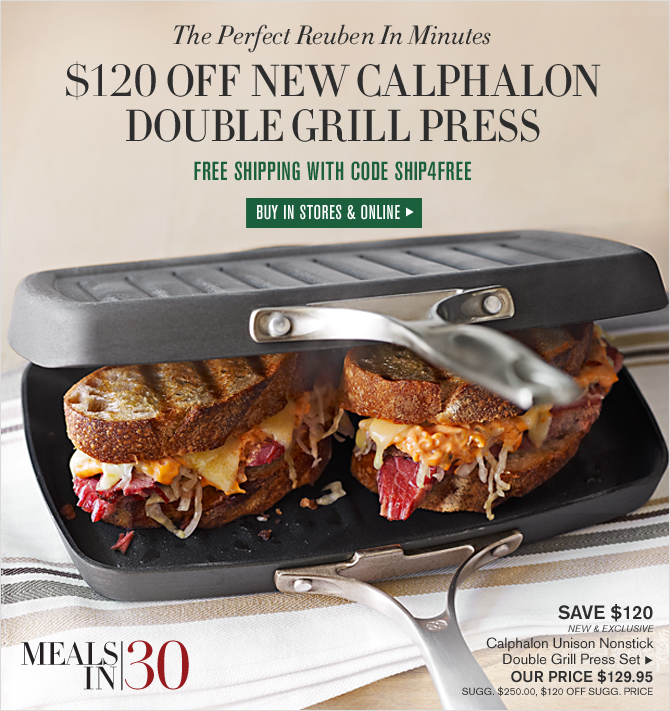 The Perfect Reuben In Minutes - $120 OFF NEW CALPHALON DOUBLE GRILL PRESS ONLY - FREE SHIPPING WITH CODE SHIP4FREE - BUY IN STORES & ONLINE