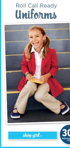 Roll Call Ready Uniforms. 30% Off Everything In The Shop. Backpacks & Lunchboxes, too! Shop Girl