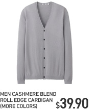 MEN CASHMERE CASHMERE BLEND ROLL EDGE CARDIGAN
