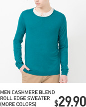 MEN CASHMERE BLEND ROLL EDGE SWEATER