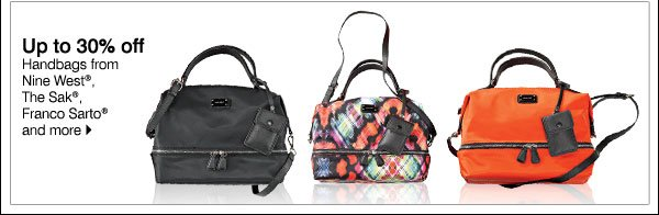 Up to 30% off Handbags from Nine West®, The Sak®, Franco Sarto® and more