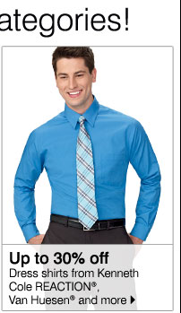 Up to 30% off Dress shirts from Kenneth Cole REACTION®, Van Huesen® and more