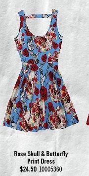 ROSE SKULL & BUTTERFLY PRINT DRESS