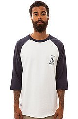 The Oscar Raglan Tee in White and Navy