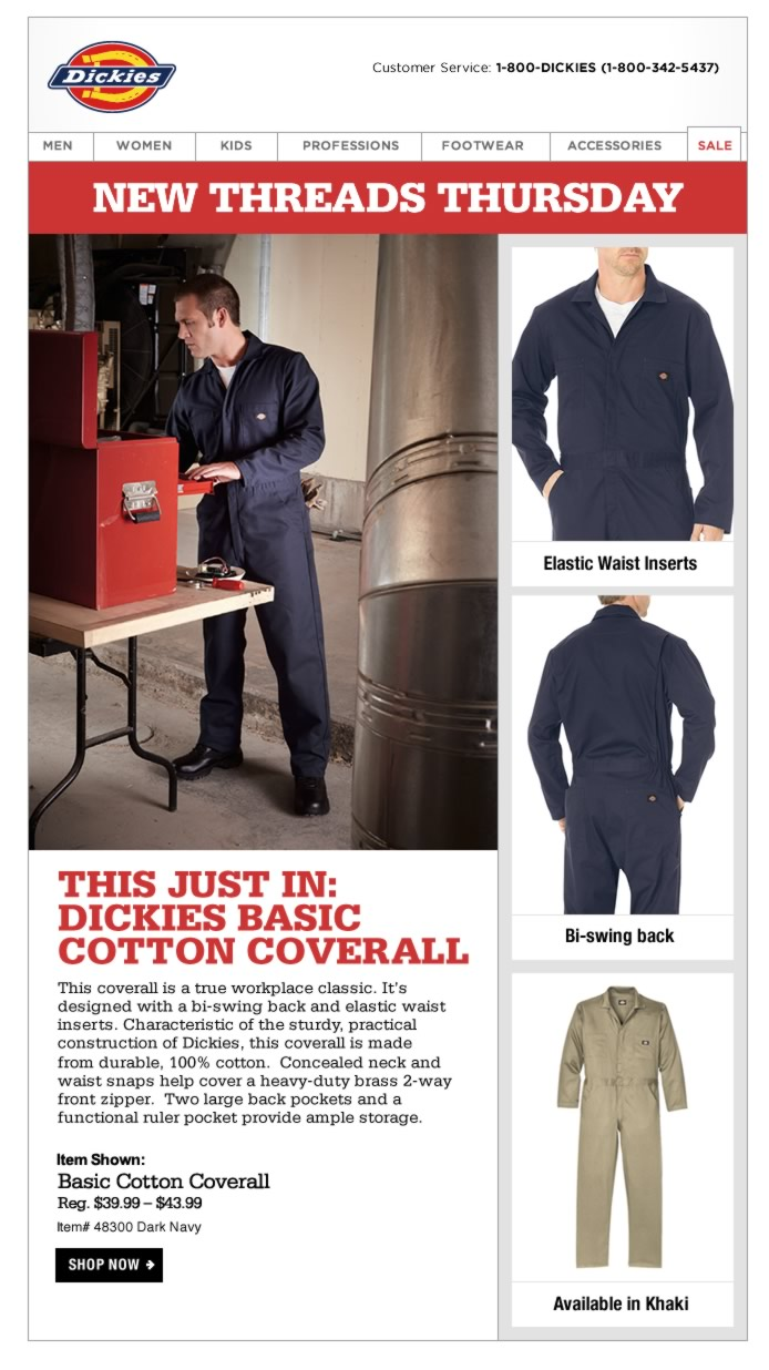 New Threads Thursday: Dickies Basic Cotton Coverall. This coverall is a true workplace classic is designed with a bi-swing back and elastic waist inserts. Characteristic of the sturdy, practical construction of Dickies and made from 100% cotton.