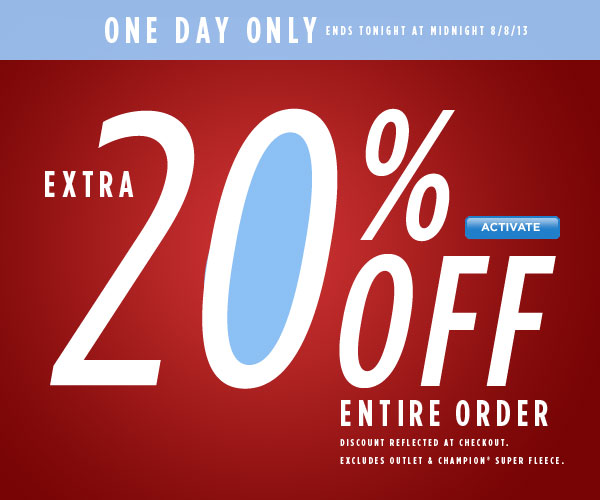 20% Off Today Only