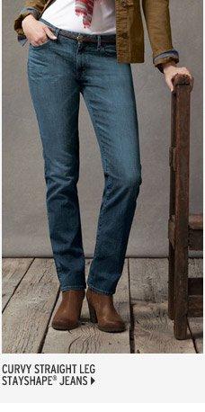 Curvy Straight Leg Jeans - StayShape®