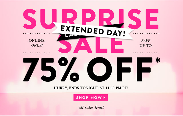 surprise sale extended day. online only. save up to 75 percent off. hurry, ends tonight at 11:59pm. all sales final. shop now.