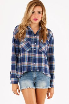 PLAID POCKET BUTTON UP SHIRT 36