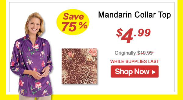 Mandarin Collar Top - Save 75% - Now Only $4.99 Limited Time Offer