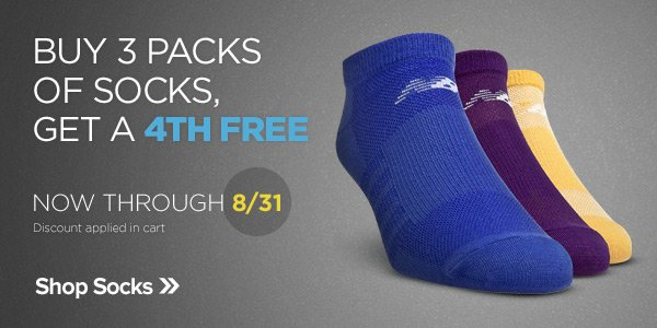 Buy 3 Packs of Socks, Get a 4th Free - Shop Now
