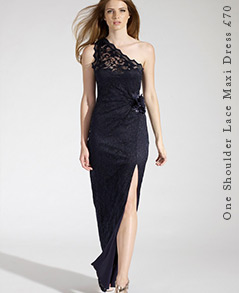 One Shoulder Lace Maxi Dress