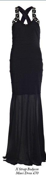 X Strap Bodycon Maxi Dress