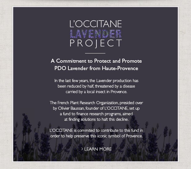 THE L'OCCITANE PROJECT A Commitment to Protect and Promote PDO Lavender from Haute-Provence  Lavender cultivation is threatened by a devastating disease carried by a local insect.  In the past few years, Provence has seen its lavender essential oil production reduced by half.  The French Plant Research Organization, presided over by Olivier Baussan, founder of L'OCCITANE, set up a fund to finance research programs aimed at finding solutions to halt lavender decline.  L'OCCITANE continues to contribute to t
